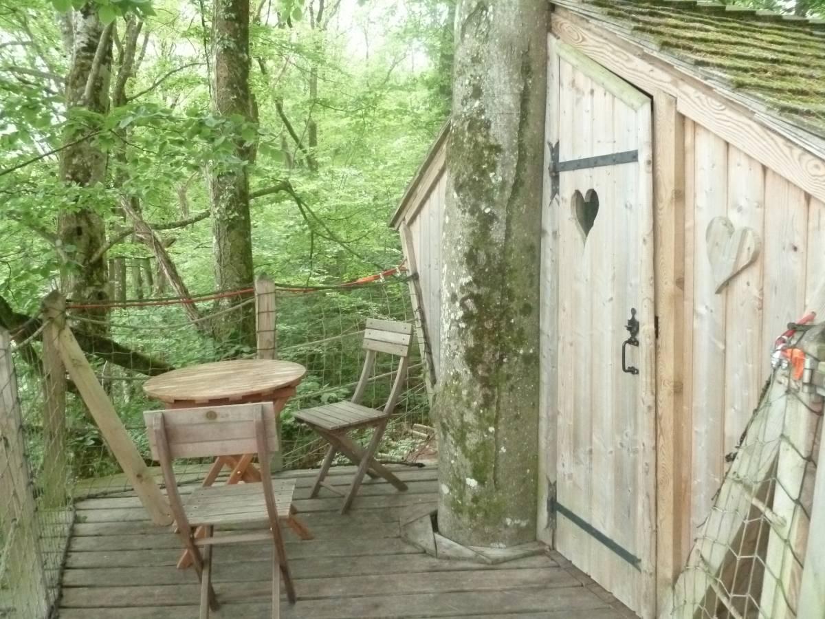 cabane perchée du camping terrasse